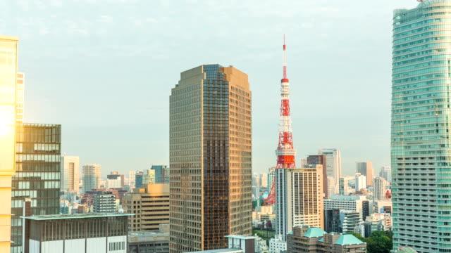 Skyline Sunset Timelapse Tokyo Tower video