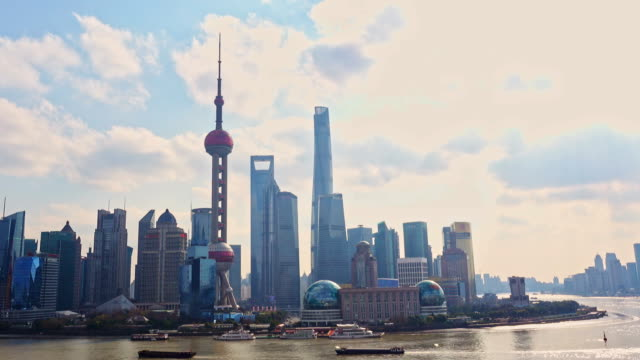 Skyline view from Bund waterfront on Pudong New Area- the business quarter of the Shanghai. Shanghai in most dynamic city of China. video