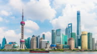 Skyline view from Bund waterfront on Pudong New Area video