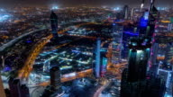 Skyline with Skyscrapers night timelapse in Kuwait City downtown illuminated at dusk. Kuwait City, Middle East video