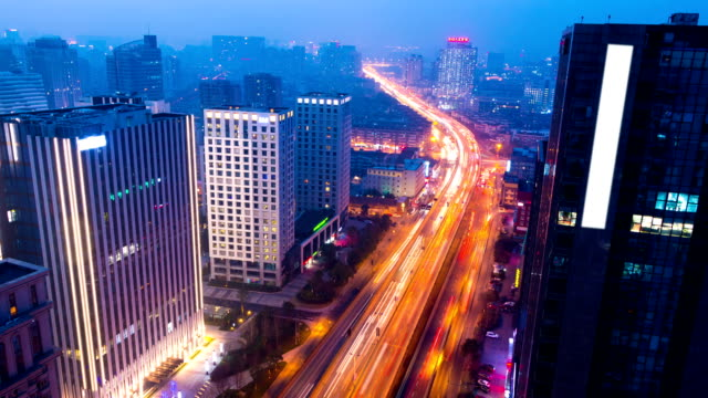 skyline,builings and traffic of modern city,hangzhou ,timelapse video