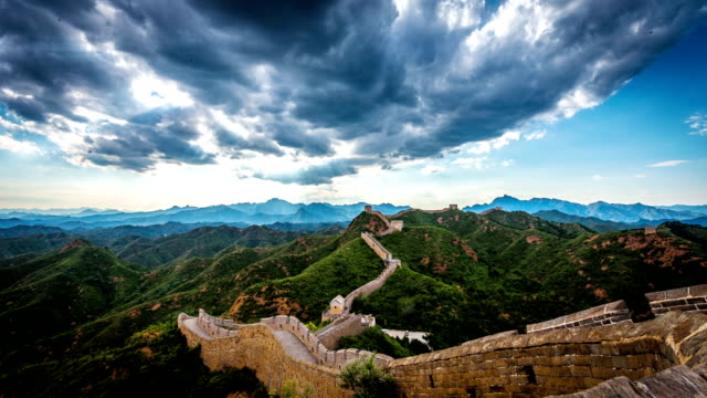 Skyline,landscape and great wall in beijing,china.Timelapse. video