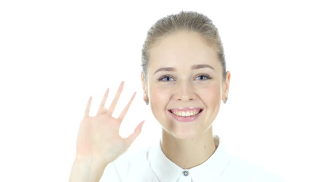 Skype, Woman Doing Online Video chat , White Background video