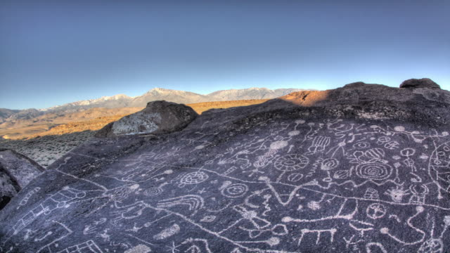 Skyrock Petroglyph. Bishop, California. 4K. video