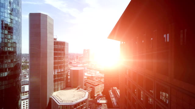 skyscraper buildings aerial view video