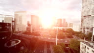 skyscraper buildings. city at sunset sky. aerial view video