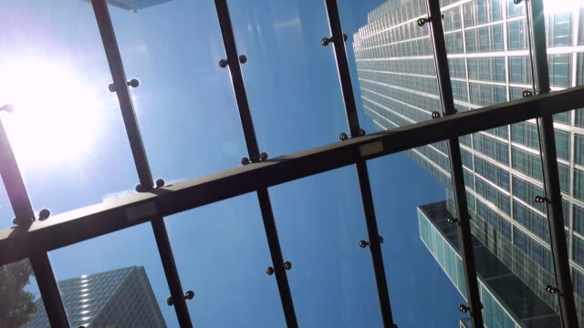 Skyscraper skyline through window video