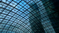 Skyscraper view through glass ceiling video