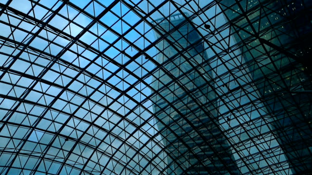 Skyscraper view through glass ceiling video