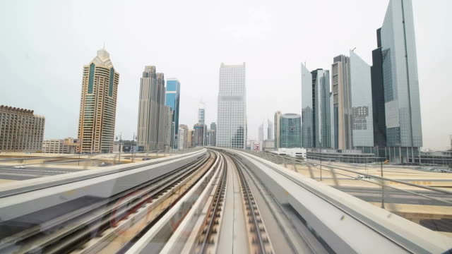 POV Skyscrapers along Dubai's metro railway video