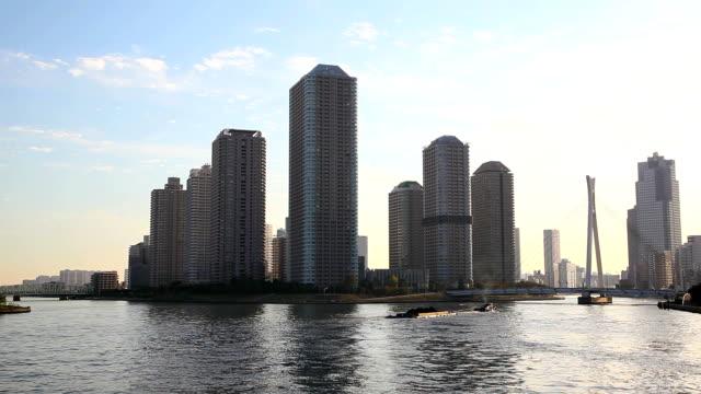 Skyscrapers at dusk in Tokyo video