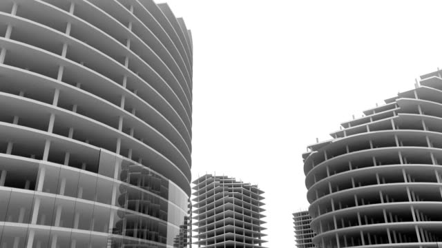 Skyscrapers building and growing up video