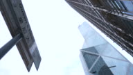 Skyscrapers from bottom view  sky background. Business district abstract financial buildings Queen's road Central, Hong Kong video