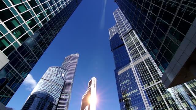 Skyscrapers, futuristic business center, timelapse video