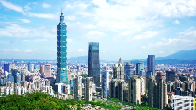 Skyscrapers of a modern city with overlooking perspective under blue sky in Taipei, Taiwan video