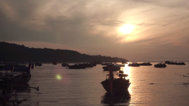 Sleeping boats on the shore of the island of Phi Phi video