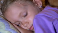 Sleeping Child at Bedroom, Dreaming Little Girl Resting in Bed video
