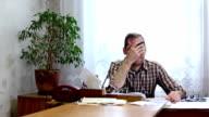 Sleeping office worker is woken up by phone video