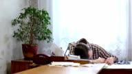 Sleeping office worker video
