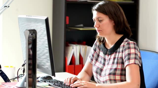 Sleepy Woman Working at Office video