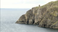 Sleive League Cliffs And Watch Tower  - Aerial View - Ulster, Donegal, Ireland video