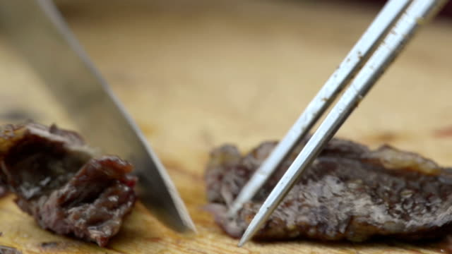 Slice grilled meat video HD video