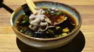 Sliced beef with Shabu shabu sauce , 4k(UHD) video