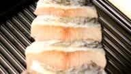 sliced fish Seabass on tray for shabu and sukiyaki video