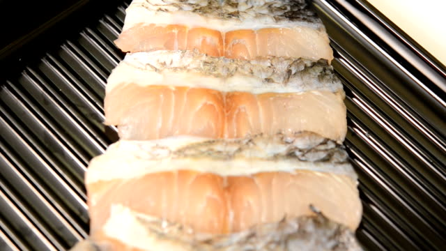 sliced fish Seabass on tray for shabu and sukiyaki video