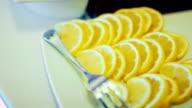 sliced lemon on plate video