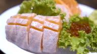 Sliced salmon sashimi video