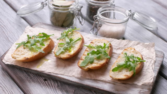 Slices of bread with herb. video