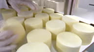 Slices of Goat cheese in storage video