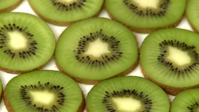 Slices of kiwi fruit closeup video