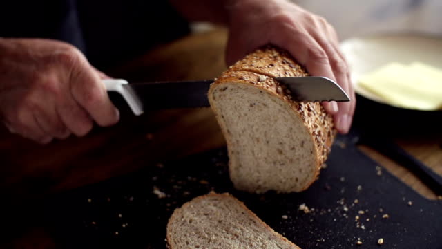 SLOW MOTION: Slicing Bread video