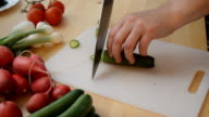 Slicing Cucumber Into Circle Slices video