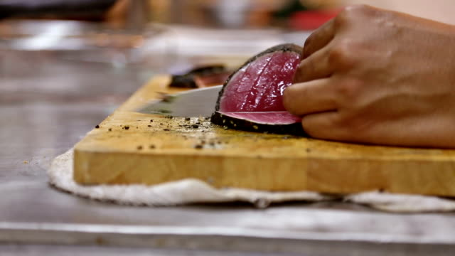 Slicing Tuna fillets, Cooking Gourmet Raw dish video