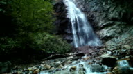 Slider camera in the mountain creek with waterfall background video