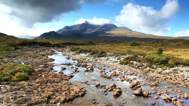 Sligachan River with the Cuillins mountains in the background video
