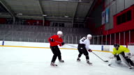 HD: Slo-Mo Shot of Ice Hockey Players in Scoring Action video