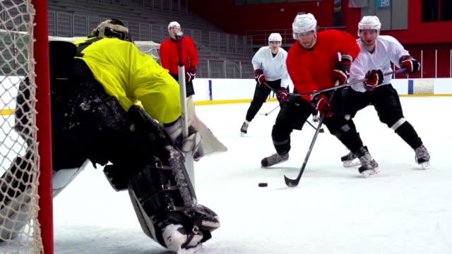 HD: Slo-Mo Shot of Ice Hockey Playersin the Scoring Action video