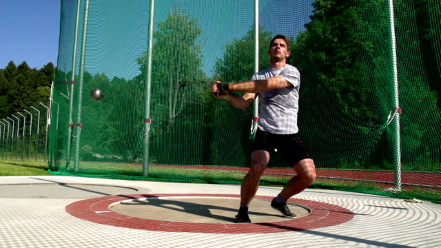 HD: Slo-Mo Shot of Male Hammer Thrower in the Action video