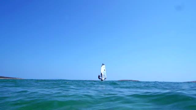HD: Slo-Mo Shot of Young Man Windsurfing video