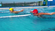 HD Slo-Mo: Two Young Women Swimming Butterfly Stroke Outdoors video