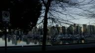 Slomo - Vancouver Skyline Boats Trees video