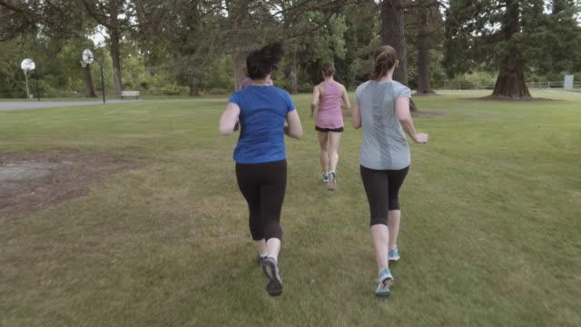 SloMo POV Women's jogging group video
