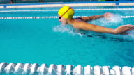 HD Slo-Mo:Motion Effect Shot of Young Women Swimming Butterfly Stroke video