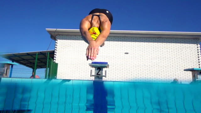 HD Slo-Mo:Young Women Starting the Race on 100 m Crawl video