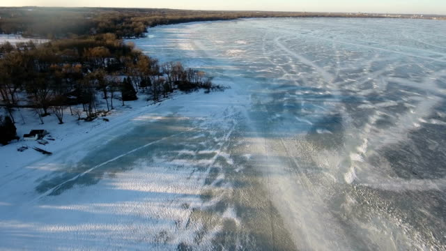 Sloppy and Slushy Ice Covered with recent rain water video