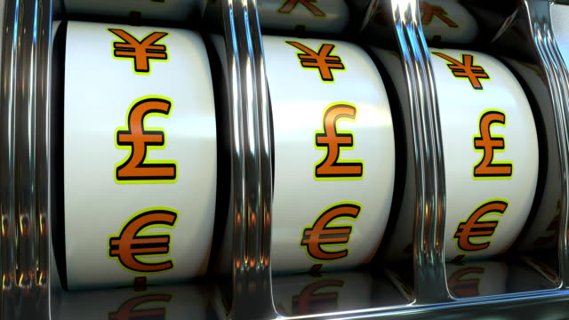 Slot machine with pound sterling currency symbols. Forex, fortune or investor's luck concepts video